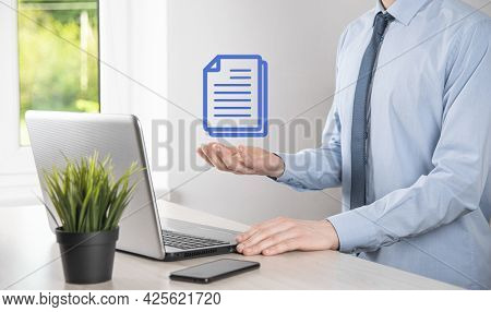 Businessman Man Holding A Document Icon In His Hand Document Management Data System Business Interne