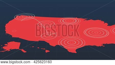 Red map with radiating white concentric circles circles spreading between territories on dark grey background. growing global communication network hubs concept.