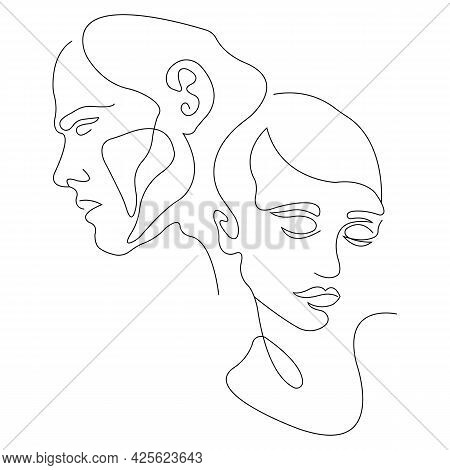 A Pair Of Lovers Looking In Different Directions, Minimalism Style In One Line. Love, Family And Dev
