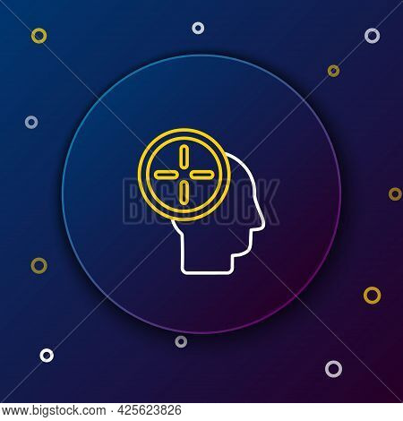 Line Head Hunting Concept Icon Isolated On Blue Background. Business Target Or Employment. Human Res