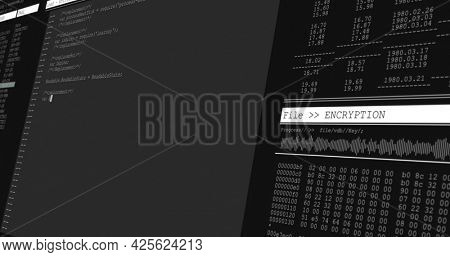 Image of data processing on grey computer screens. global technology data processing and computing concept digitally generated image.