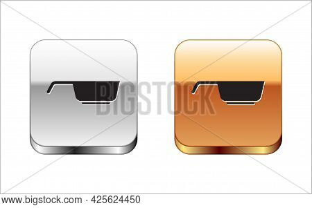 Black Frying Pan Icon Isolated On White Background. Fry Or Roast Food Symbol. Silver-gold Square But