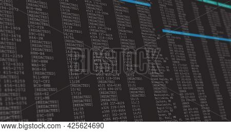 Image of data processing on gray and blue computer screen. global technology data processing and computing concept digitally generated image.