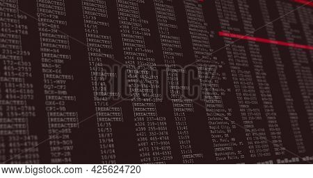 Image of data processing on grey and red computer screen. global technology, programming and computing concept digitally generated image.