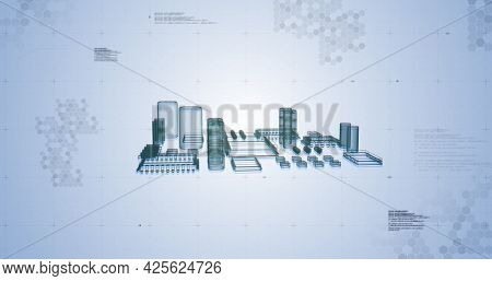 Image of digital elements compounds moving and data processing. global computing technology and digital interface concept digitally generated image.