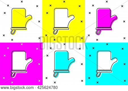 Set Sauna Mittens Icon Isolated On Color Background. Mitten For Spa. Vector