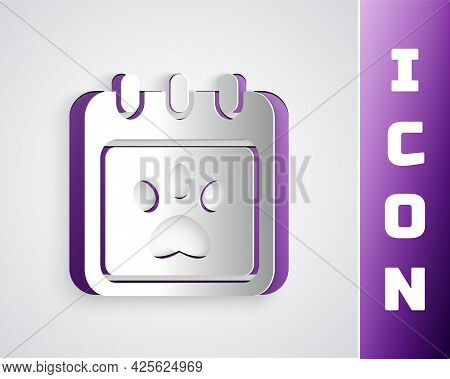Paper Cut Calendar Grooming Icon Isolated On Grey Background. Event Reminder Symbol. Paper Art Style