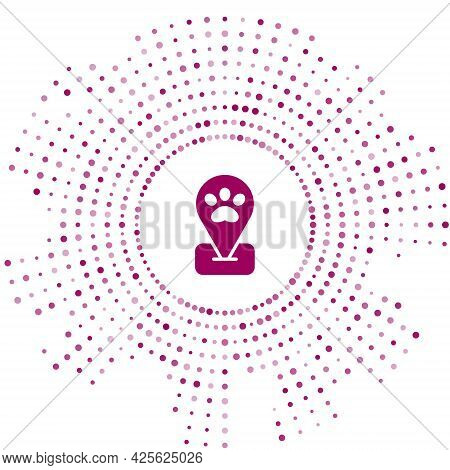 Purple Location Pet Grooming Icon Isolated On White Background. Pet Hair Salon. Barber Shop For Dogs