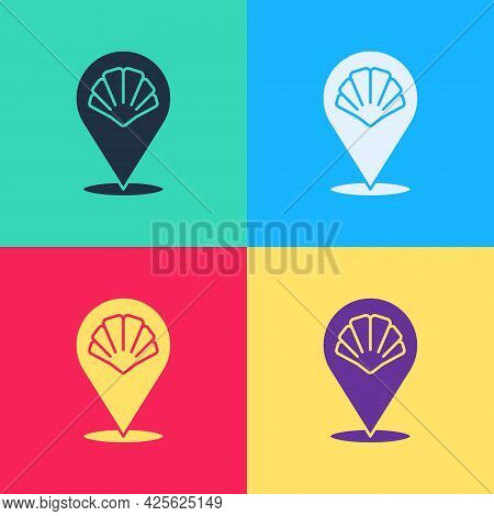 Pop Art Scallop Sea Shell Icon Isolated On Color Background. Seashell Sign. Vector