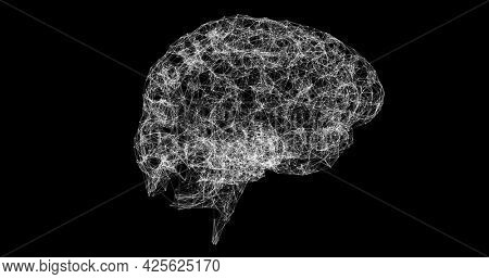 Image of a white 3D human brain model made of connections spinning on black background