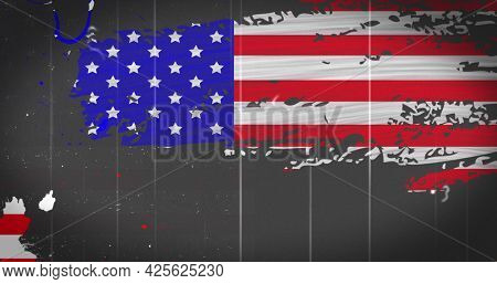 Image of distressed American flag flickering in seamless loop in repetitive motion on grey background. United States of America presidential election democracy concept digitally generated image.