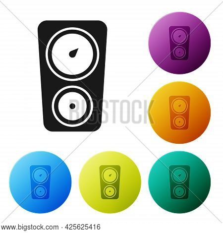 Black Gauge Scale Icon Isolated On White Background. Satisfaction, Temperature, Manometer, Risk, Rat