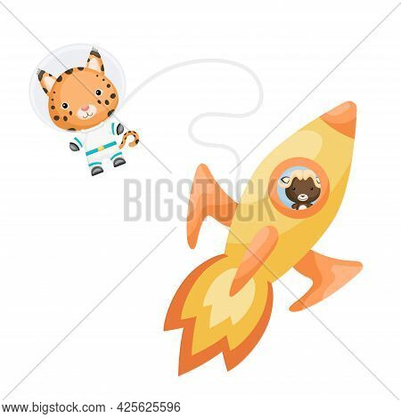 Cute Little Musk-ox Flying In Yellow Rocket. Cartoon Lynx Character In Space Costume With Rocket On