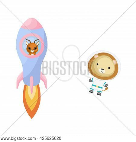 Cute Little Gazelle Flying In Blue Rocket. Cartoon Lion Character In Space Costume With Rocket On Wh
