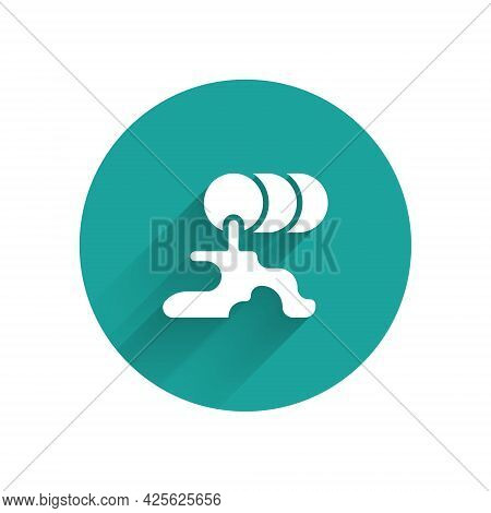 White Barrel Oil Leak Icon Isolated With Long Shadow. Green Circle Button. Vector