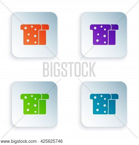 Color Bread Toast For Sandwich Piece Of Roasted Crouton Icon Isolated On White Background. Lunch, Di