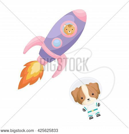 Cute Little Cat Flying In Violet Rocket. Cartoon Dog Character In Space Costume With Rocket On White
