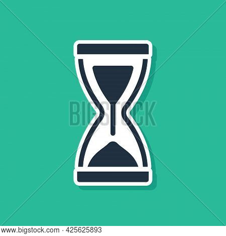 Blue Old Hourglass With Flowing Sand Icon Isolated On Green Background. Sand Clock Sign. Business An