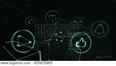 Image of interface network of light connections with digital icons moving on black background, Digital global networking concept digitally generated image.