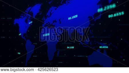 Image of a blue world map with blue numbers rising going up and down on black background. Global economy stock market concept digital composition