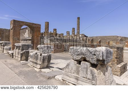 Forum Of City Destroyed By The Eruption Of The Volcano Vesuvius, View Of The Temple Of Jupiter, Pomp
