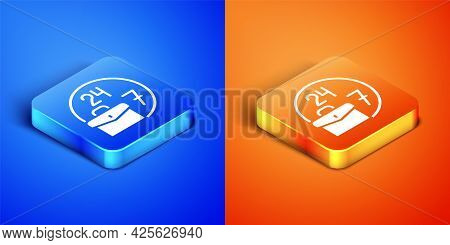 Isometric Always Busy Icon Isolated On Blue And Orange Background. Square Button. Vector