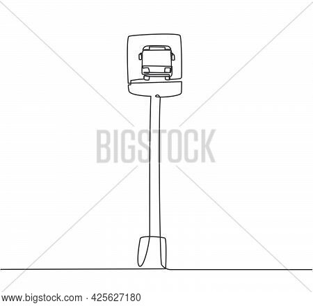 Single One Line Drawing Of A Bus Stop With A Simple Bus Sign Located On The Side Of An Urban Road Wh