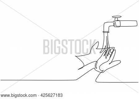Single One Line Drawing Of Washing Hands With Clean Water Spilled From The Tap To Protection Hands F