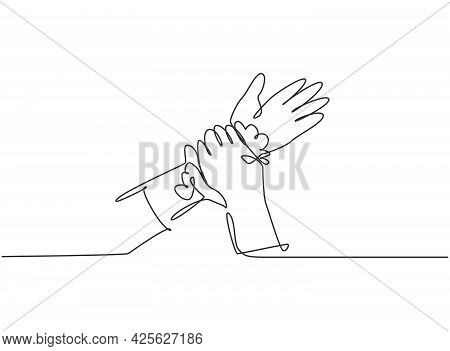 Single One Line Drawing Of Twelve Steps Hand Washing By Rubbing The Wrists With Soap And Clean Water