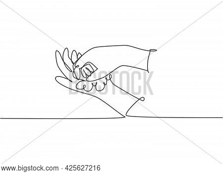 Continuous One Line Drawing Twelve Steps Hand Washing By Rubbing The Palms Of The Hands With Soap Un