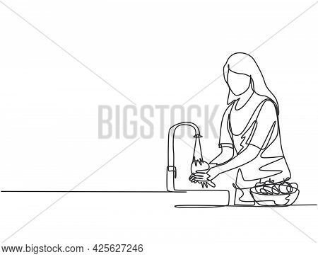 Continuous One Line Drawing A Woman Was Washing The Fruit In The Sink From The Bacteria That Stick T