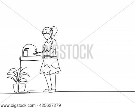 Single Continuous Line Drawing A Girl Washes Her Hands In The Sink, There Is A Soap Dish By The Tap