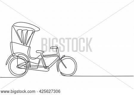 Single Continuous Line Drawing The Cycle Rickshaw Seen From The Side Pulls The Passenger Sitting Beh