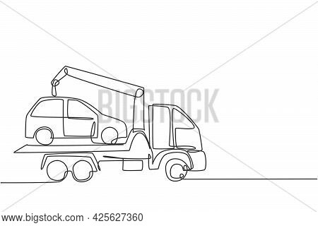 Single Continuous Line Drawing Tow Truck Is Transporting A Broken Car On Top Of It With A Crane. The