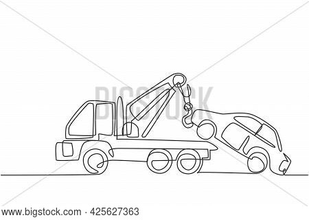 Continuous One Line Drawing Tow Truck Is Lifting The Broken Car To Be Lifted Onto It Using The Crane