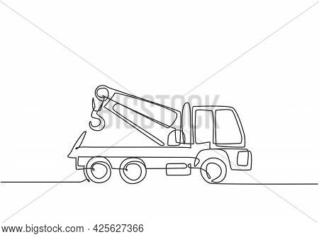 Single Continuous Line Drawing The Tow Truck Seen From The Side Is Ready To Help The Driver Whose Ca
