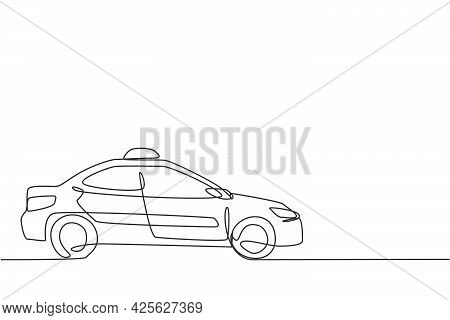 Single One Line Drawing Of The Newest Modern Taxi Car Uses A Meter, Gps, And Can Be Ordered Online.