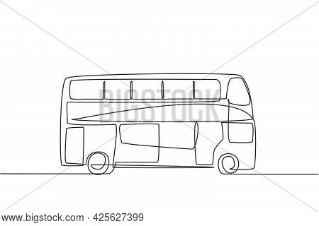 Single Continuous Line Drawing Double Decker Buses That Are Seen From The Side, Serve Tourists To Go