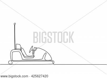 Single Continuous Line Drawing Electric Dodgem Car In Amusement Park Arena With One Antenna. Playing