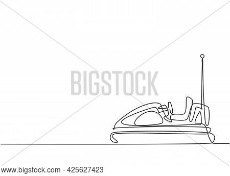 Single Continuous Line Drawing Electric Dodgem Car In Amusement Park Arena With One Antenna. Bumper