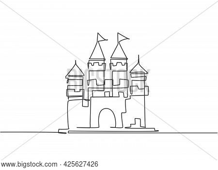 Single One Line Drawing Of Castle In An Amusement Park With Four Towers And Two Flags On It. A Fort