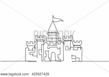 Continuous One Line Drawing, A Castle In An Amusement Park With Five Towers And One Flag Above It. A