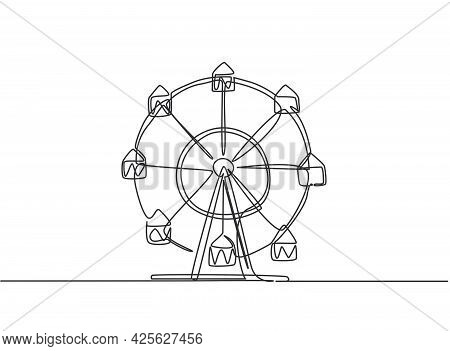 Continuous One Line Drawing Of A Ferris Wheel In An Amusement Park, A Circular Circle Turning High I