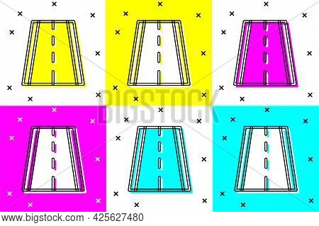Set Special Bicycle Ride On The Bicycle Lane Icon Isolated On Color Background. Vector