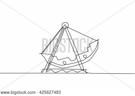 Continuous One Line Drawing Large Swing Boat In An Amusement Park Driven By An Engine In Outdoor Lan