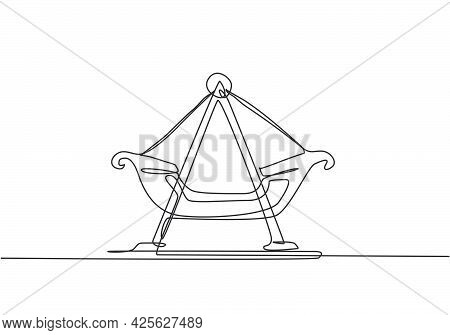 Single One Line Drawing Of Small Swing Boat In An Amusement Park Which Is Moved By Several People By