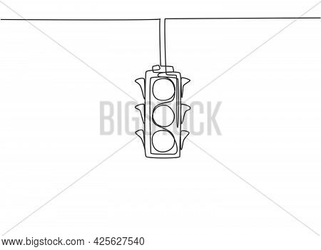 Single Continuous Line Drawing Of Traffic Lights That Are Placed Hanging Above The Highway Crossing.
