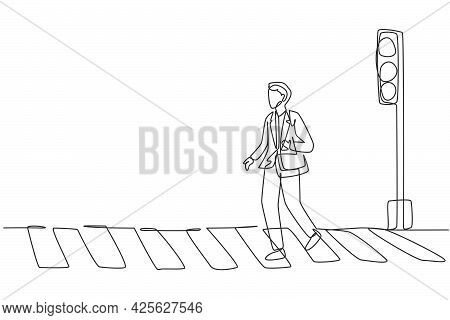 Continuous One Line Drawing A Male Worker Crosses The Road On The Zebra Crossing After Returning Fro