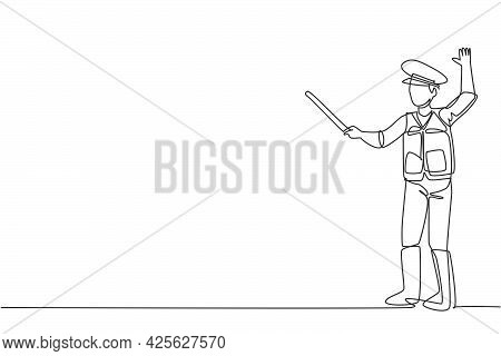 Single One Line Drawing Of A Policeman In Full Uniform And Using A Short Stick Is Controlling The Ve