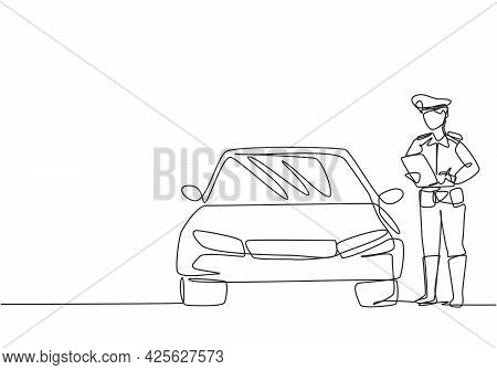 Single Continuous Line Drawing Policeman With Uniform Is Ticketing A Driver Who Uses A Car For Viola